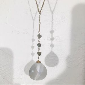 Anthropologie Brass and Grey Pendant Necklace